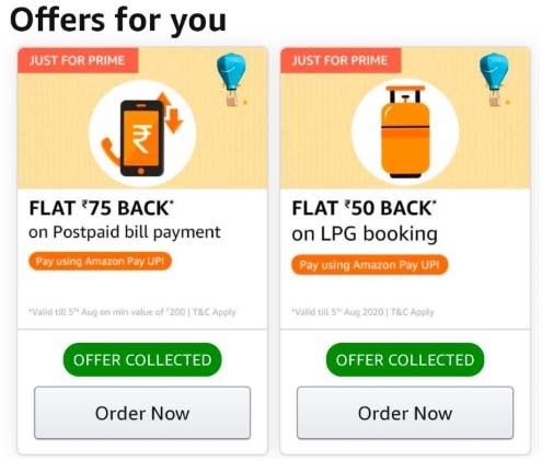 Amazon UPI 125 Cashback Offer For on Postpaid Bill Payment And LPG Booking