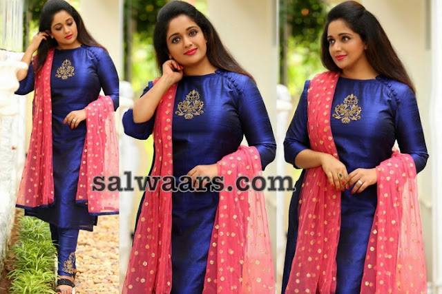 Kavya Madhavan Blue Silk Saree