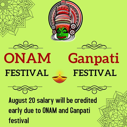 August salary will be credited early due to Onam and Ganpati festival
