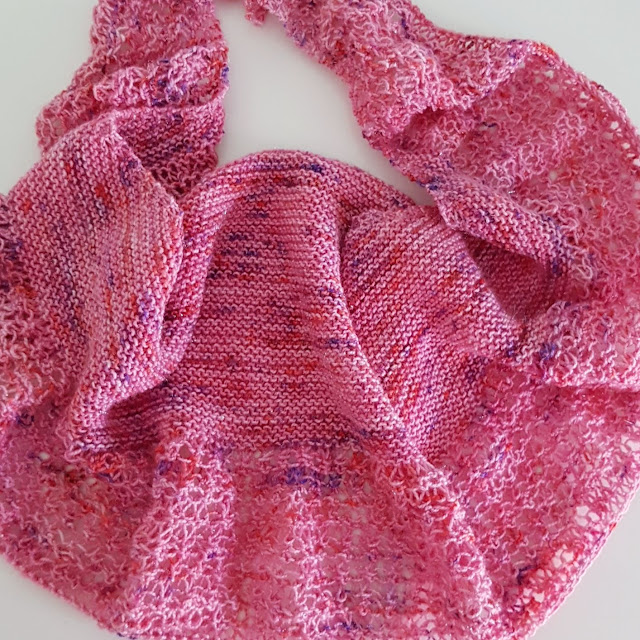 Knitted rosewater shawl