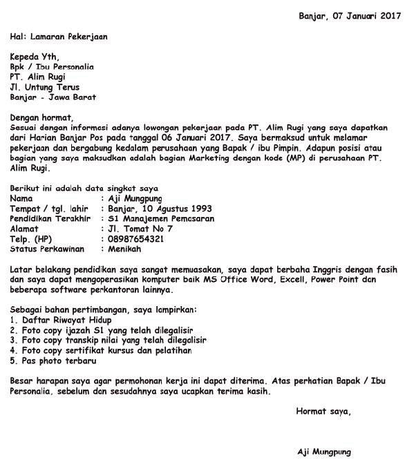 Surat Lamaran Pekerjaan Dengan Format Terbaru Yang Wajib
