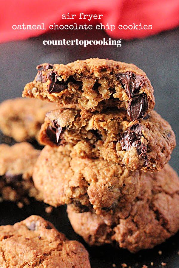 Air Fryer Oatmeal Chocolate Chip Cookies- Countertop Cooking #countertopcookingblog #airfryer #cookies #chocolatechip #oatmeal