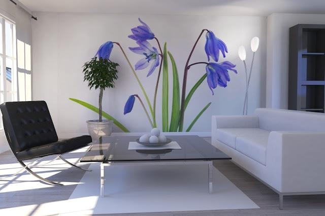 blommig tapet blå fototapet vardagsrum