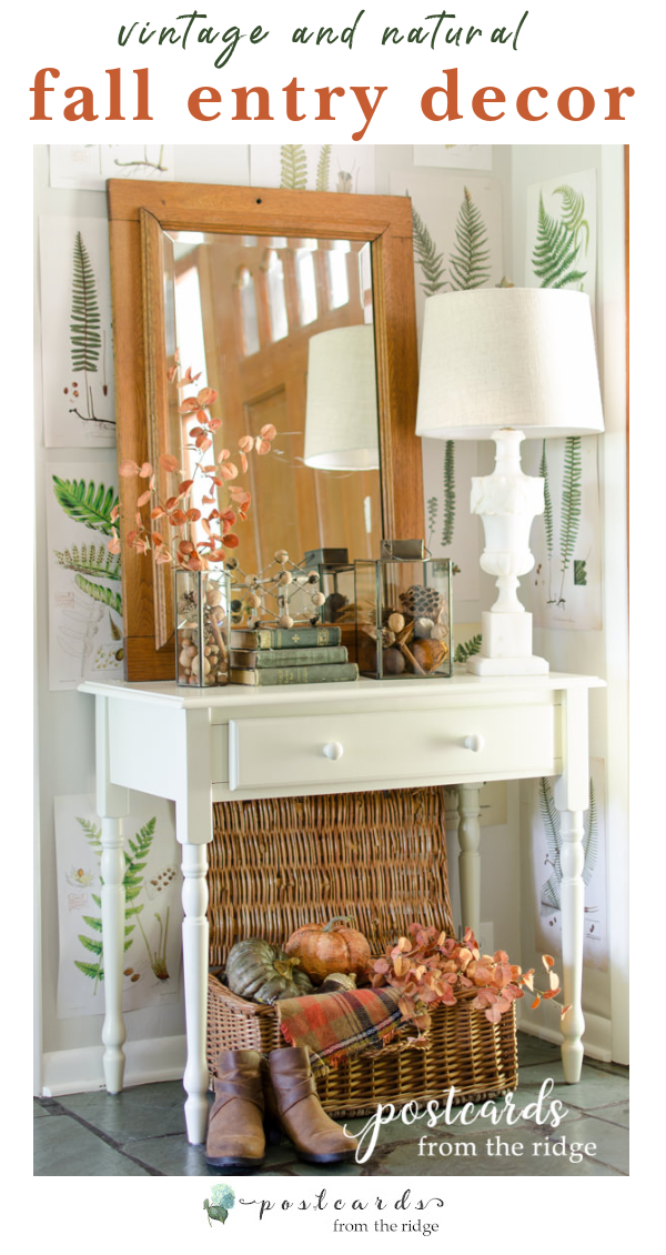 fall entry with white table and vintage decor