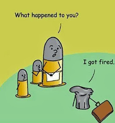 Funny Shotgun Shell Cartoon Fired Pun Image - What happened to you? I got fired