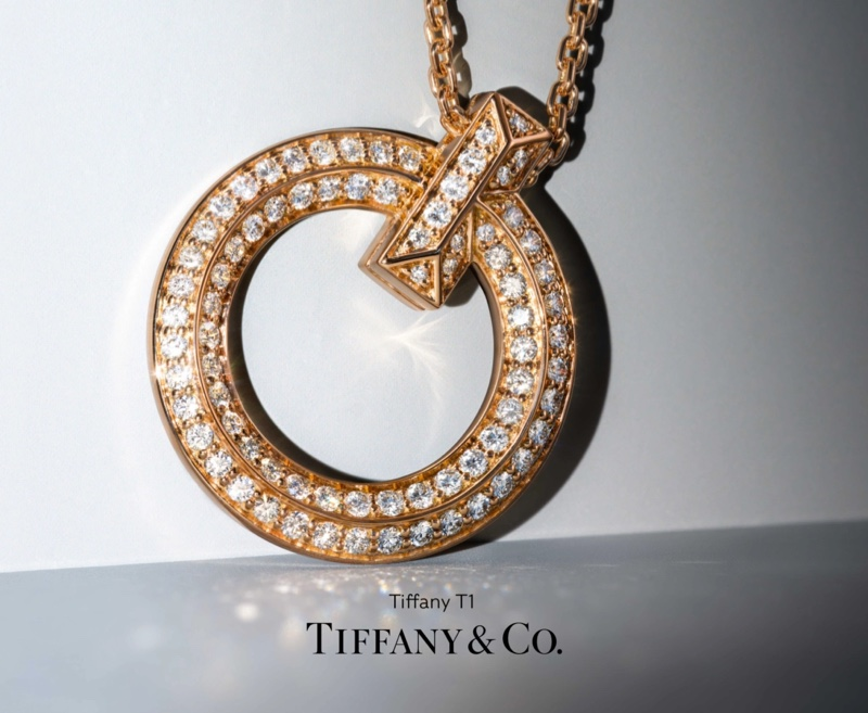 Tiffany & Co T1 Tiffany campaign with circle pendant in 18k rose gold with diamonds.