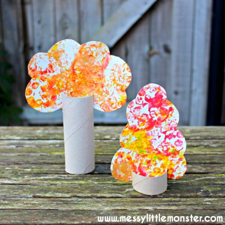 bubble wrap tree autumn craft for kids