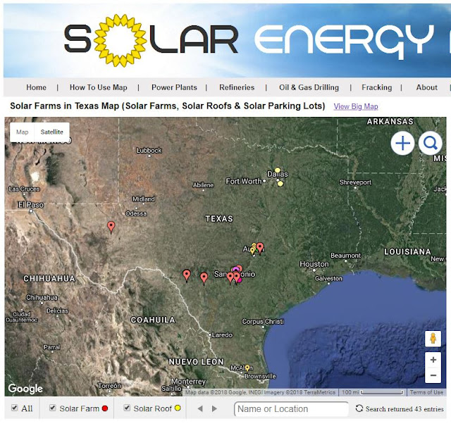 map of solar farms in Texas
