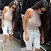 Hot Kim Kardashian Braless Wearing See Through Dress