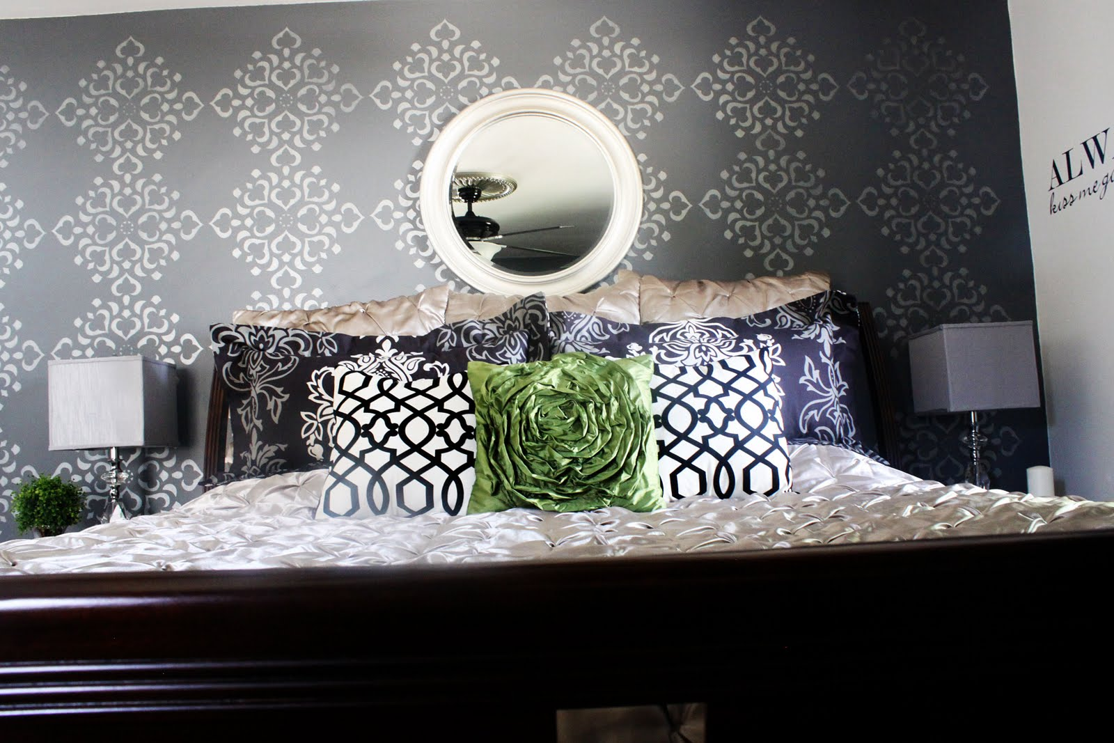 Remodelaholic Stenciled Wall Master Bedroom - Bedroom wall stencils design