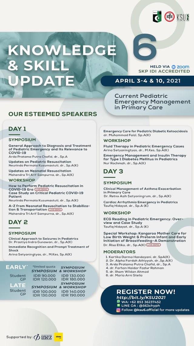 "Symposium & Workshop KSU 6 (Knowledge and Skill Update)  ""Current Pediatric Emergency in Primary Care"""