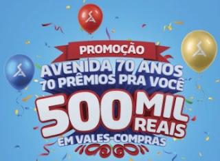 Promoção Avenida Supermercados 2017 2018 Aniversário 70 Anos 70 Prêmios