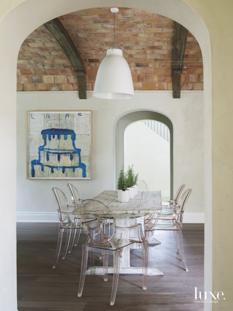 Provence style French chateau dining area with ghost chairs in Houston - found on Hello Lovely Studio