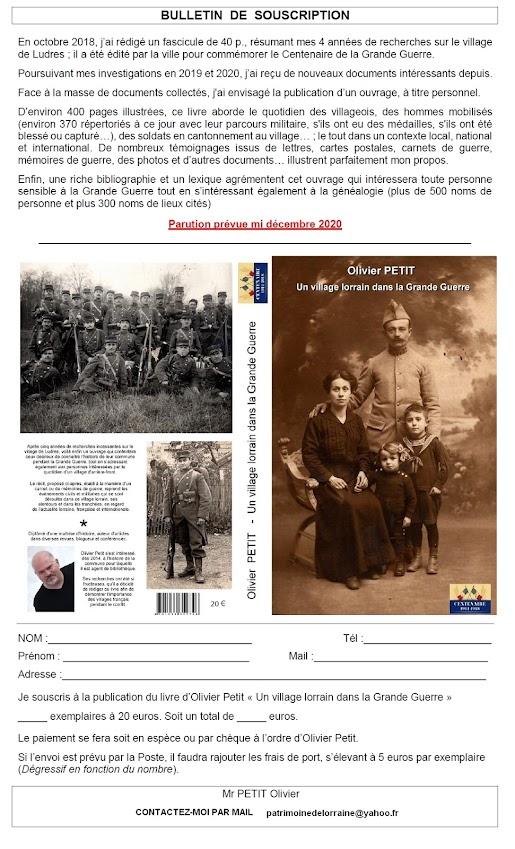 """""""Un village lorrain dans la Grande Guerre"""" - Un livre en souscription !"""