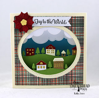 Our Daily Bread Designs Stamp/Die Duos: Great Joy, Custom Dies: Diorama with Layers, Neighborhood Border, Cloud Borders, Peaceful Poinsettias, Pennant Flags Paper Collection: Christmas 2017