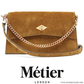 Kate Middleton carries METIER Roma small suede shoulder bag