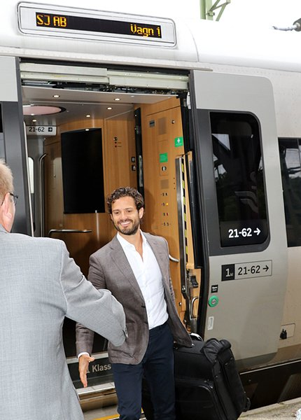 Prince Carl Philip and Princess Sofia of Sweden traveling by train from Stockholm to Karlstad for their two day visit to the region Varmland
