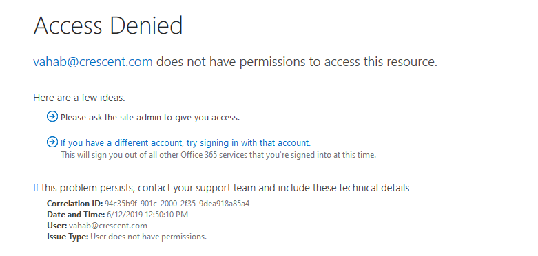 OneDrive for business access requests disabled