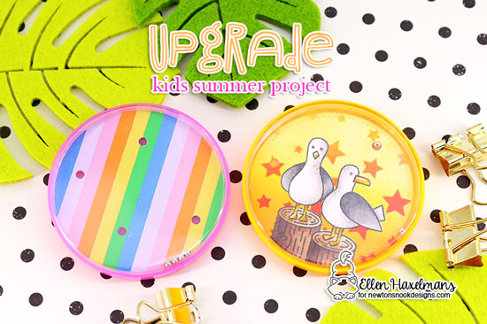 Kids Toy DIY Tutorial by Ellen Haxelmans | Gull Friends, Shrimp Cocktails and Flip Flop Life Stamp Sets with Cascading Stars, Waves and Tumbling Hearts Stencils by Newton's Nook Designs #newtonsnook #handmade
