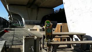 茅ヶ崎ワクワク公園スケートボードパークでオールドスクールスケートボード