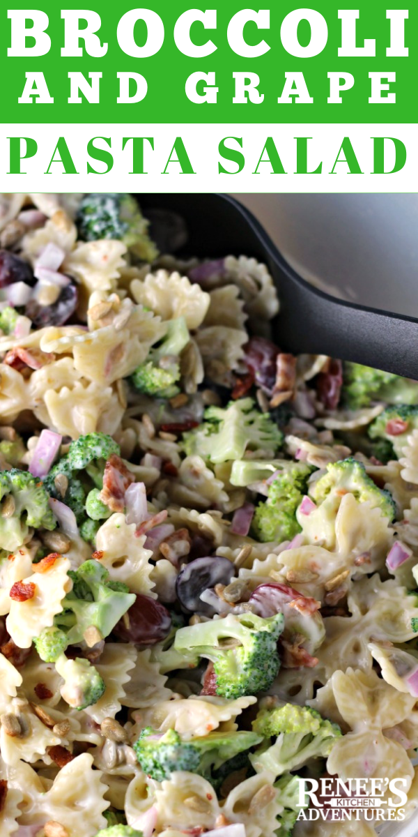 Broccoli and Grape Pasta Salad | by Renee's Kitchen Adventures pin