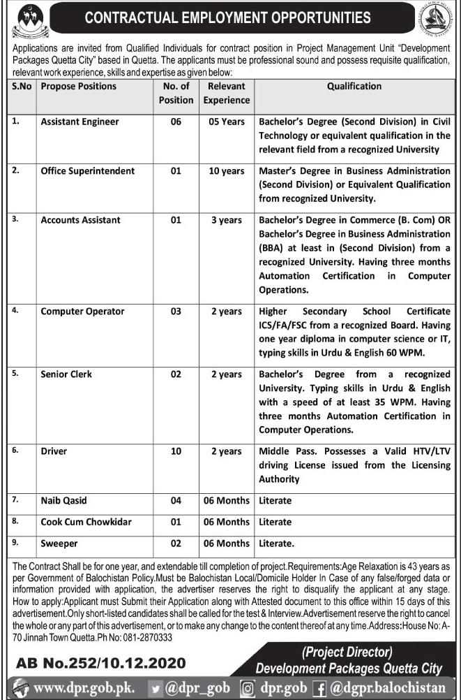 Planning & Development Department Balochistan Jobs 2020