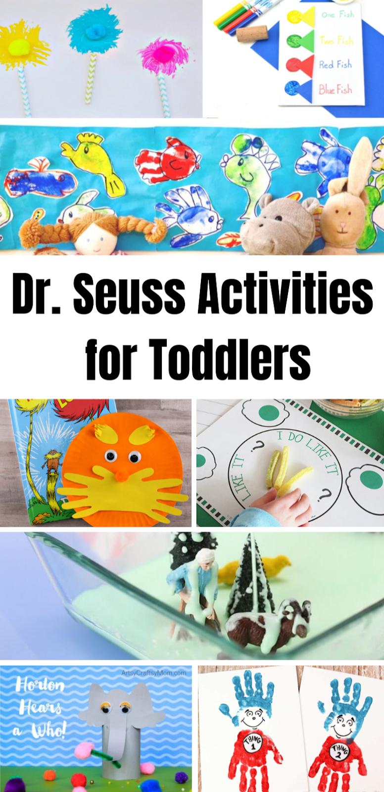 Dr Seuss Activities for Toddlers and preschoolers. A fun selection of Dr Seuss activities and Dr Seuss crafts for preschoolers and toddlers. Dr Seuss Day.