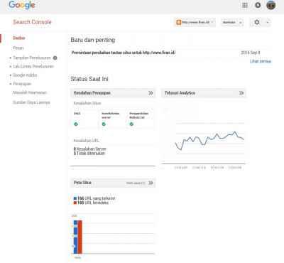 Dasbor google webmaster tools
