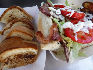 a grilled cheese sandwich and BLT from the Lunch Wagon food truck from Waterloo, Iowa