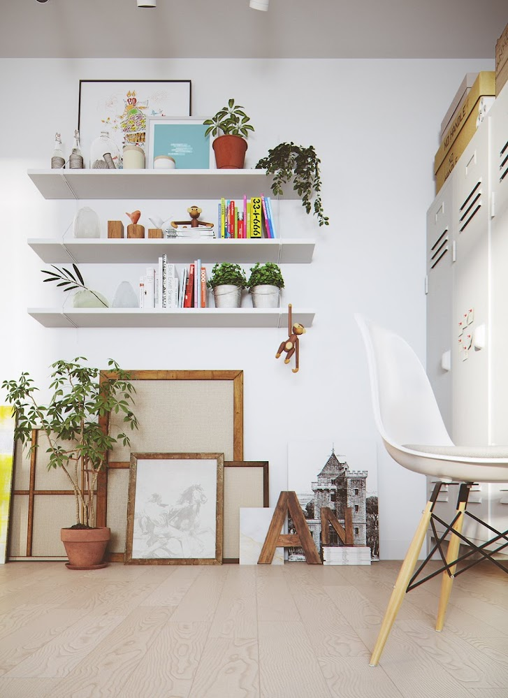 white-shelves-greenery-wood-frames