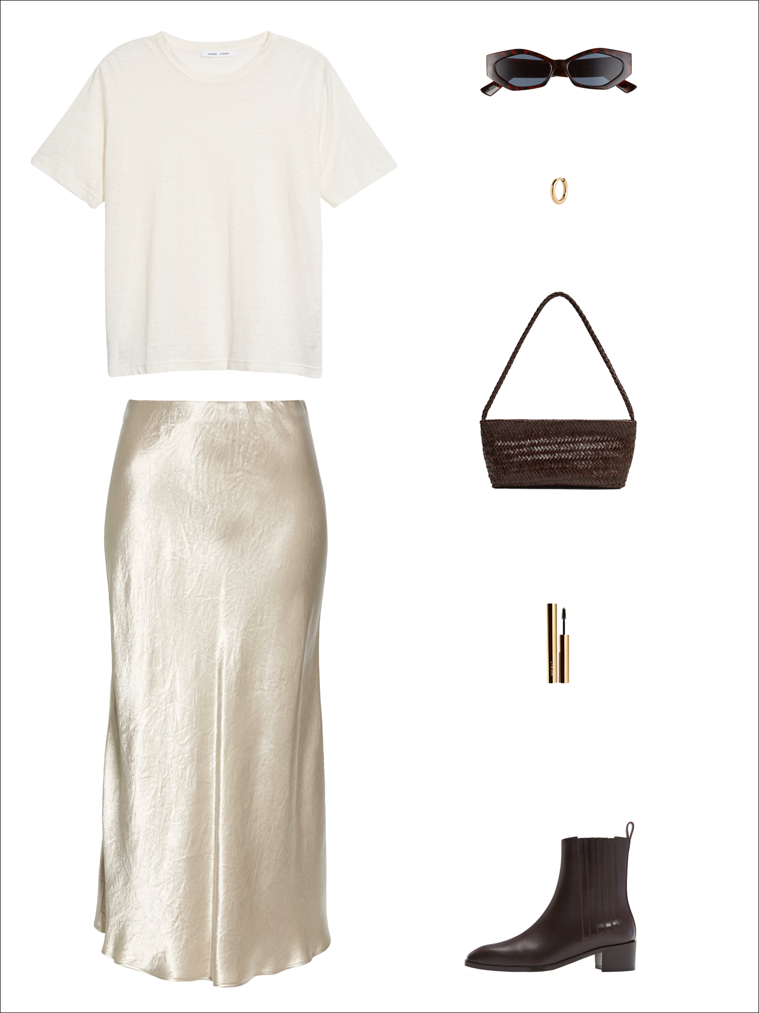 Transitional spring outfit idea with a white linen t-shirt, standout sunglasses, a cool hoop earring, braided bag, satin midi skirt, and brown Chelsea ankle boots