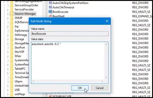 autocheck autochk registry