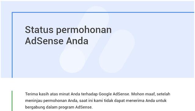 Pengalaman ditolak Google Adsense