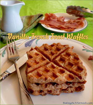 Vanilla French Toast Waffles are a combination of two breakfast treats, but these versatile waffles can be breakfast, brunch, lunch or even dessert. | Recipe developed by www.BakingInATornado.com | #recipe #breakfast