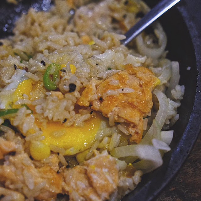Salmon and Chicken Pepper Rice with Egg and Cheese