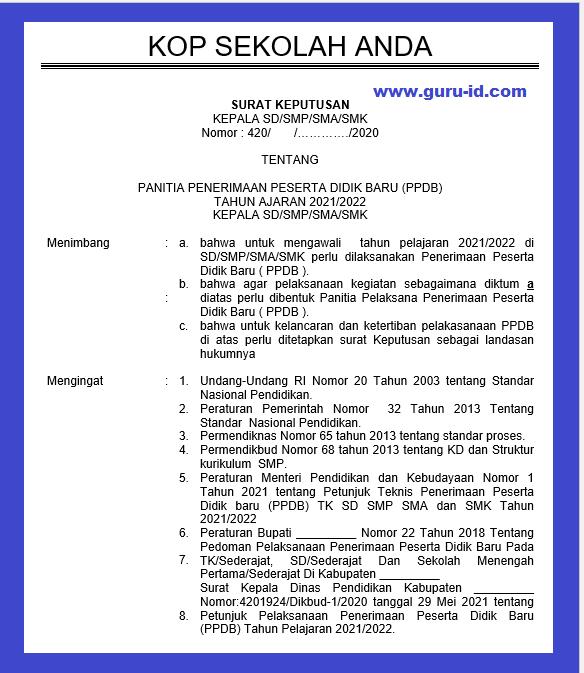 gambar contoh sk panitia ppdb 2021 2022