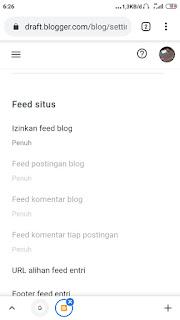 Settingan feed blog harus mode penuh