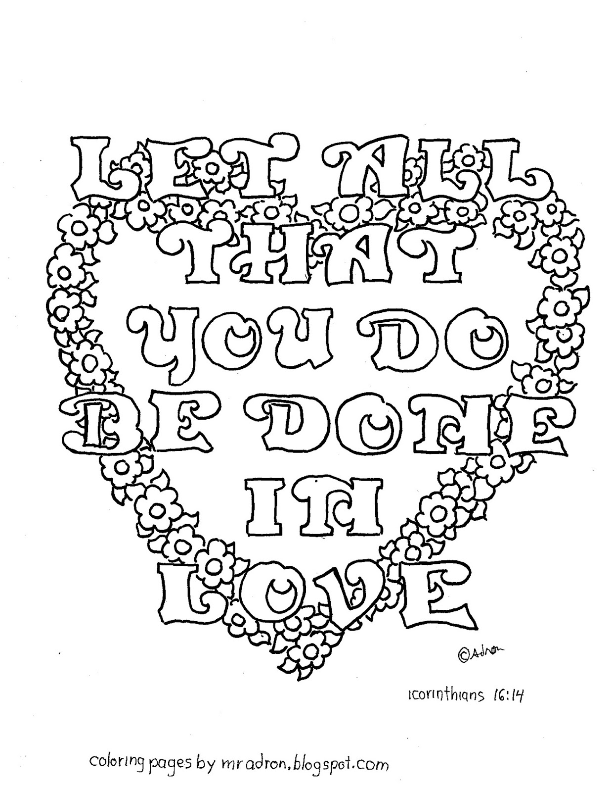 Coloring Pages For Kids By Mr Adron Do Everything In Love 1 Corinthians 16 14 Free Coloring Page