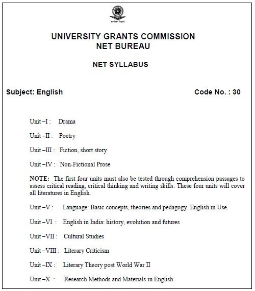 image : NTA UGC NET English Syllabus @ ugcnetonline.in