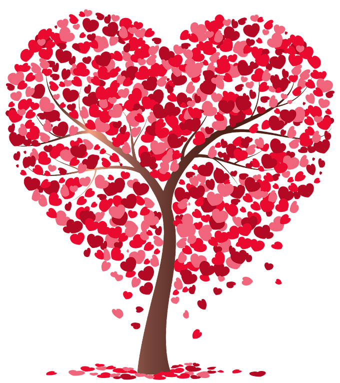 Tree, Heart Tree, pink and red heart tree illustration, love, branch, flower png free png