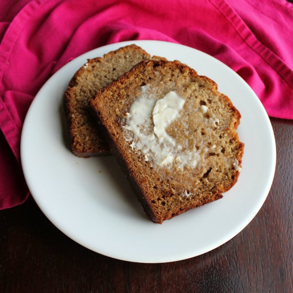 slices of one bowl banana bread with a smear of butter
