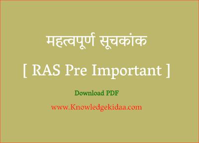 महत्वपूर्ण  सूचकांक [ RAS Pre Important ]