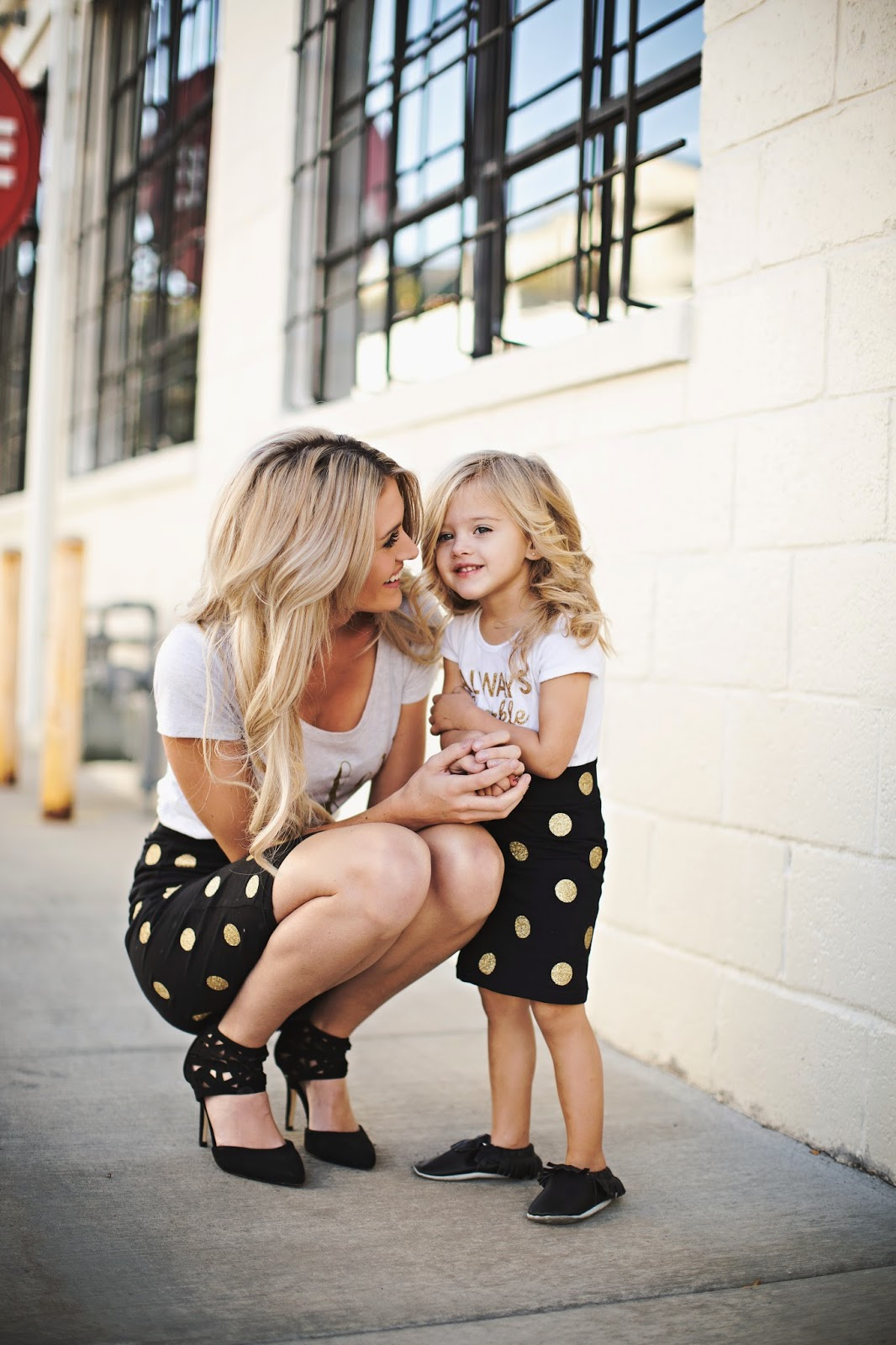 Children's Fashion Polka Dot Skirt and White Shirt Black Shoes Mom and Daughter Look Alike