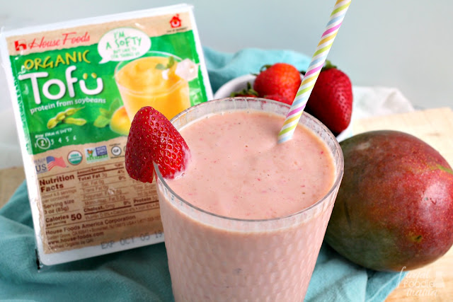 This Strawberry Papaya Tofu Smoothie is a thick & creamy blend of tofu, sweet strawberries, fresh papaya, frozen mango, & banana- a perfect quick & easy after school snack!