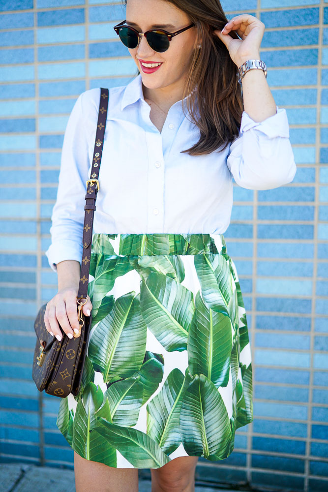 PARTYSKIRTS Alexandra Palm Skirt, Covering the Bases, Krista Robertson, Palm Tree pattern, Fashion Blogger, palm trees, NYC Blog, Style, Summer Skirts, what to wear to the beach