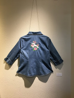 Upcycled Denim Shirt with Embroidered Asian Crane Design On Back by Judy Osness