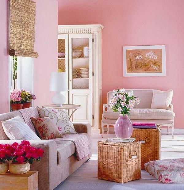 decoración de sala rosa