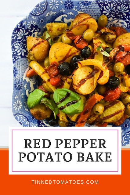 This colourful Mediterranean Potato Bake with Peppers and Olives is super simple to make, packed with flavour and delicious served hot or cold as a potato salad