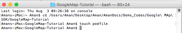 Coomand to create podfile xcode