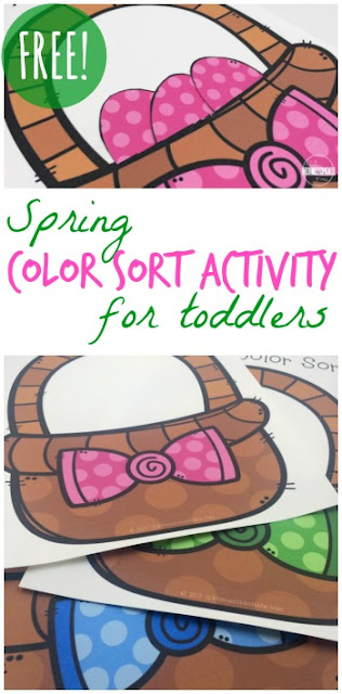 FREE Spring Color Sorting Activity - this is such a fun color recognition and color sorting activity with a fun Easter twist for toddler, preschool, kindergarten age kids. This is a fun Easter basket kids activities and makes a great center